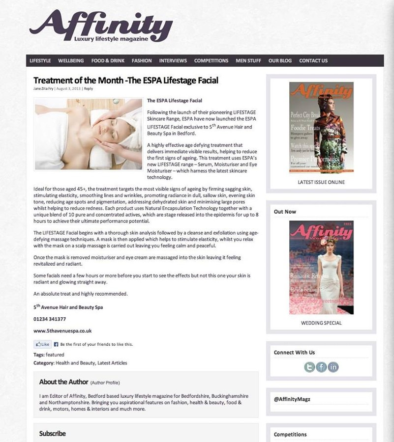 Voted Treatment of the Month in Affinity Magazine